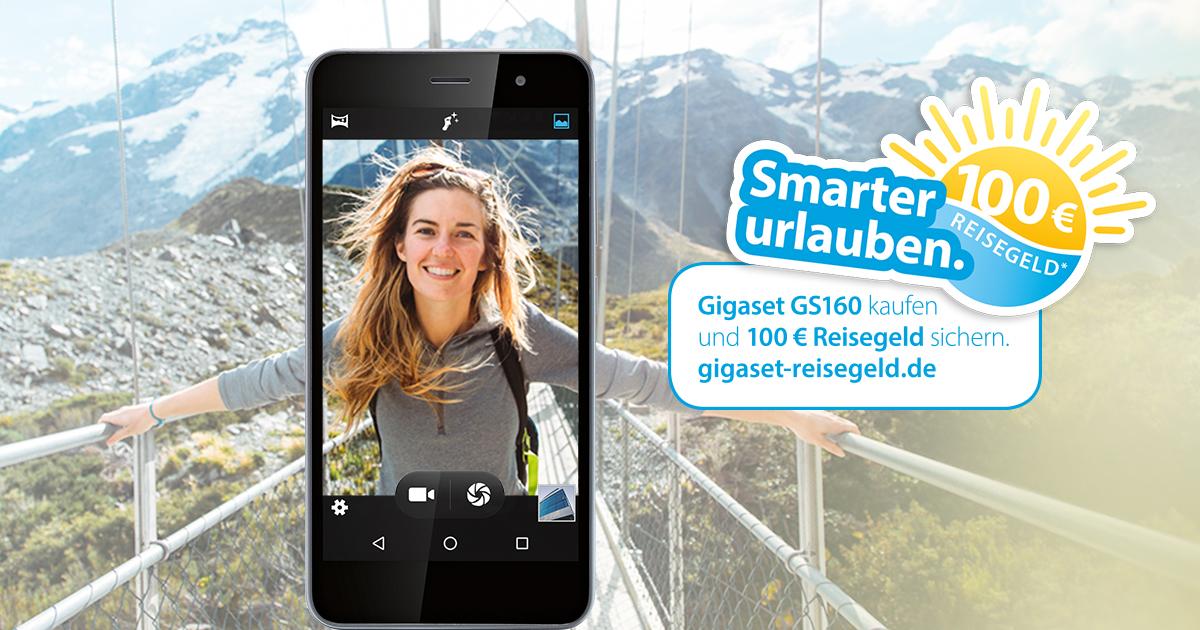 Gigaset GS160 sichert 100 Euro Reisegeld.