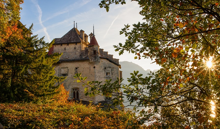 Chillon Castle south of Veytaux in the canton of Vaud